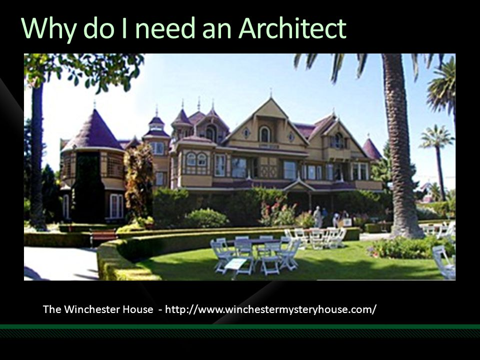 Winchester House Facts 38 Years of Construction 147 Builders 0 Architects 160 Rooms 40 Bedrooms 6 Kitchens 2 Basements 950 Doors Cost $5,5million Winchester House Facts 65 Doors to blank walls 13 Abandoned Staircases 24 Skylights in the floor No architectural Blueprint Exists