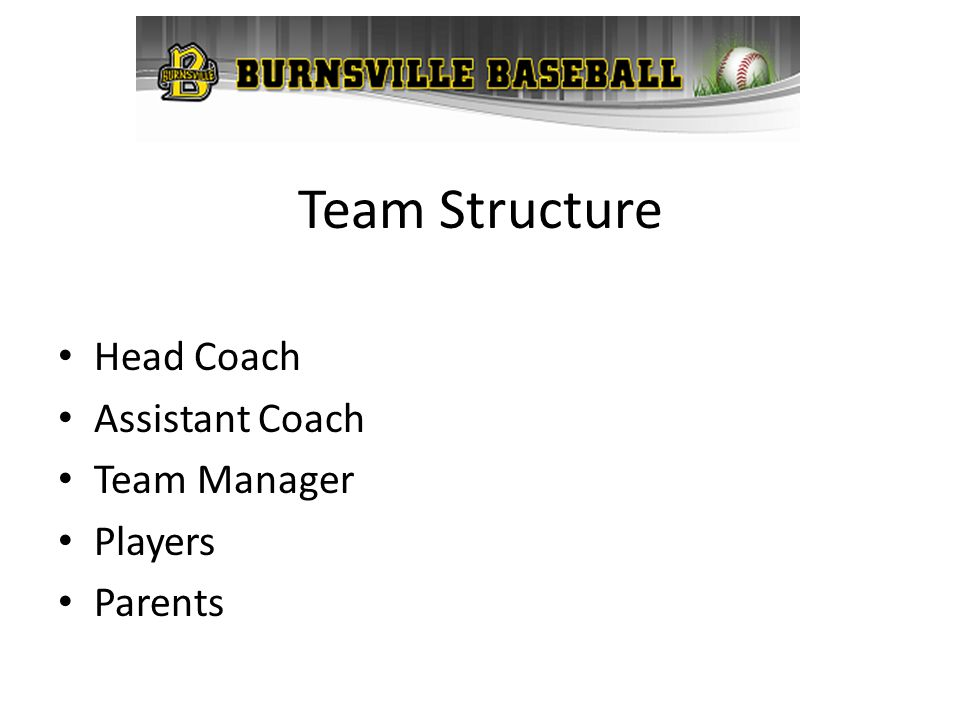 Team Structure Head Coach Assistant Coach Team Manager Players Parents