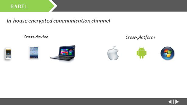 In-house encrypted communication channel Cross-device BABEL Cross-platform