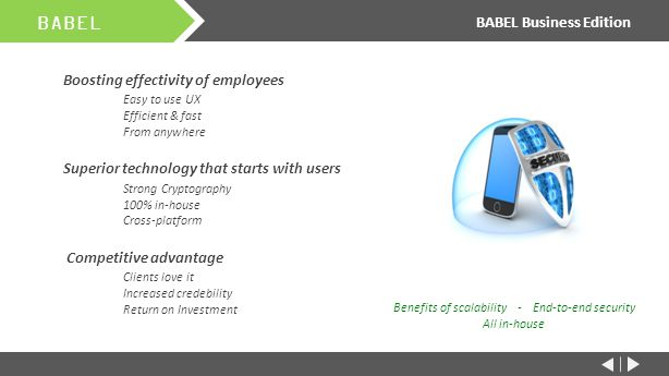 Boosting effectivity of employees Easy to use UX Efficient & fast From anywhere Superior technology that starts with users Strong Cryptography 100% in-house Cross-platform Competitive advantage Clients love it Increased credebility Return on Investment BABEL BABEL Business Edition Benefits of scalability - End-to-end security All in-house
