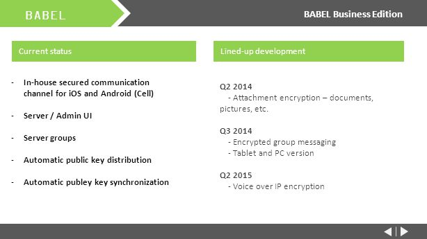 BABEL BABEL Business Edition Current status Q2 2014 - Attachment encryption – documents, pictures, etc.