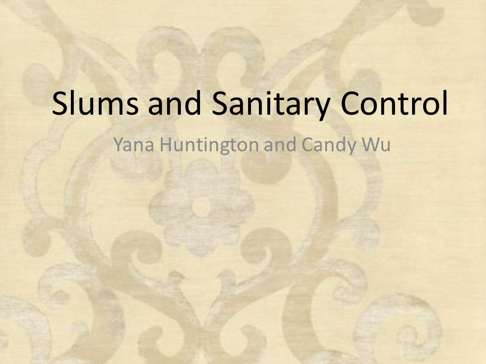 Slums and Sanitary Control Yana Huntington and Candy Wu