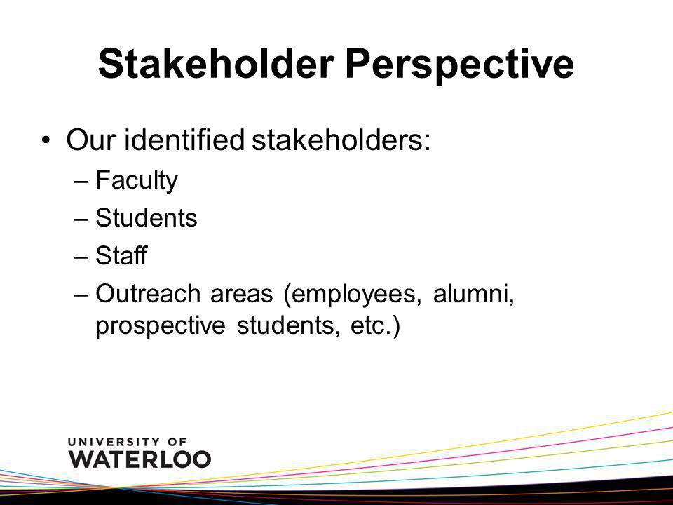 Stakeholder Perspective Our identified stakeholders: –Faculty –Students –Staff –Outreach areas (employees, alumni, prospective students, etc.)