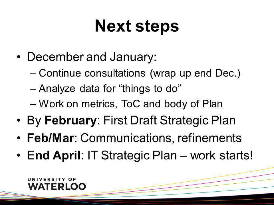 Next steps December and January: –Continue consultations (wrap up end Dec.) –Analyze data for things to do –Work on metrics, ToC and body of Plan By F