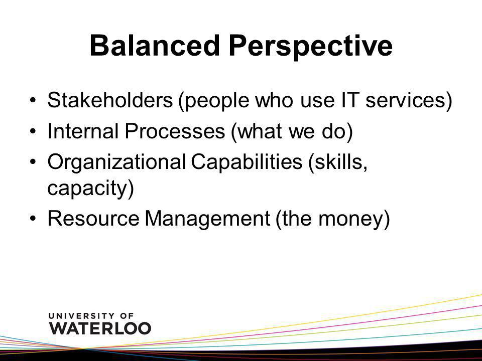 Balanced Perspective Stakeholders (people who use IT services) Internal Processes (what we do) Organizational Capabilities (skills, capacity) Resource