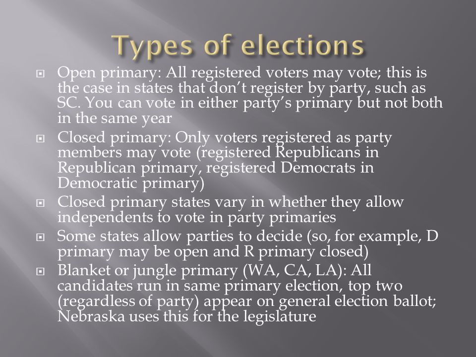 Open primary: All registered voters may vote; this is the case in states that dont register by party, such as SC.