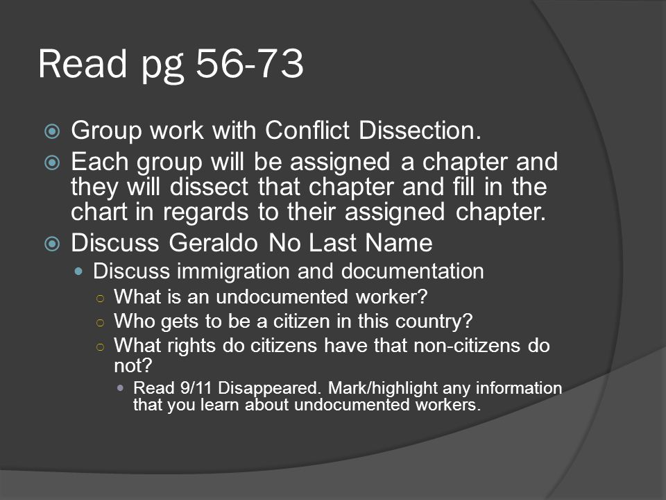 Read pg 56-73 Group work with Conflict Dissection. Each group will be assigned a chapter and they will dissect that chapter and fill in the chart in r