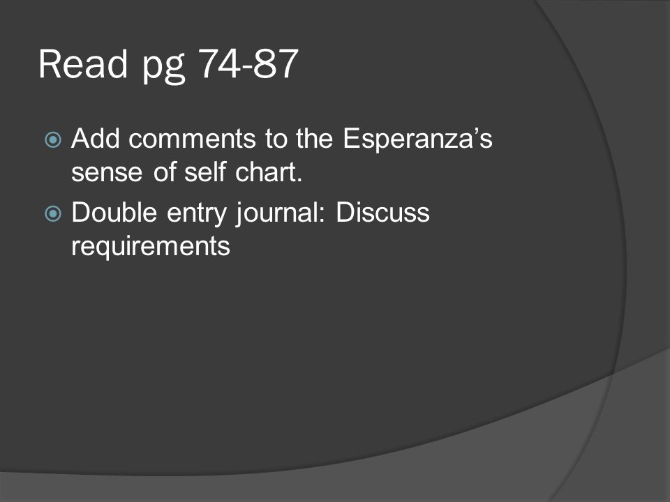 Read pg 74-87 Add comments to the Esperanzas sense of self chart. Double entry journal: Discuss requirements