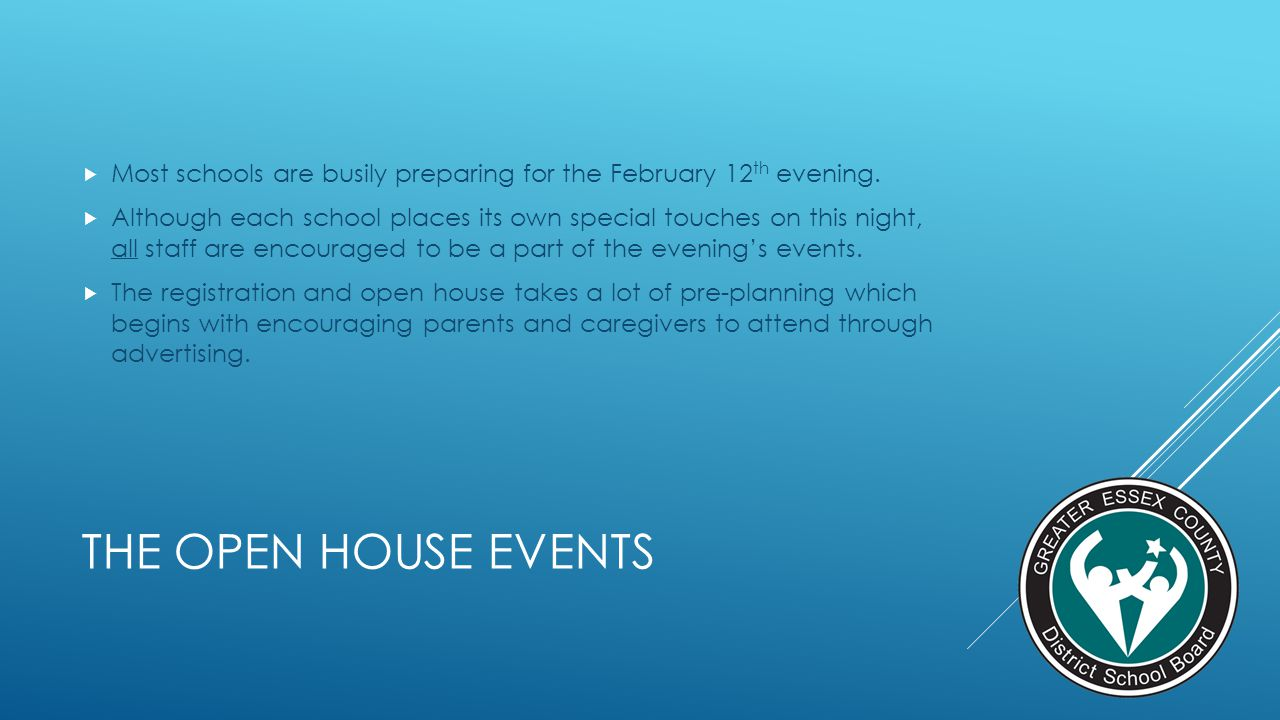 THE OPEN HOUSE EVENTS Most schools are busily preparing for the February 12 th evening. Although each school places its own special touches on this ni