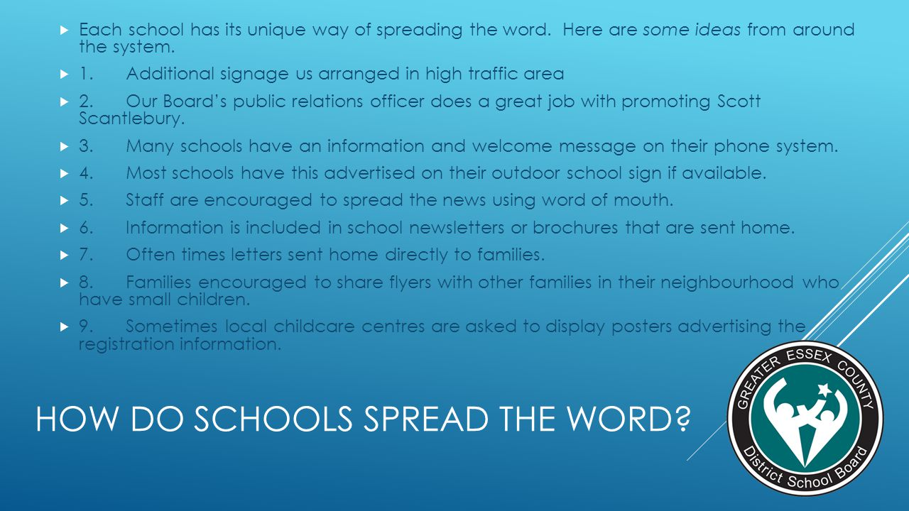 HOW DO SCHOOLS SPREAD THE WORD? Each school has its unique way of spreading the word. Here are some ideas from around the system. 1.Additional signage