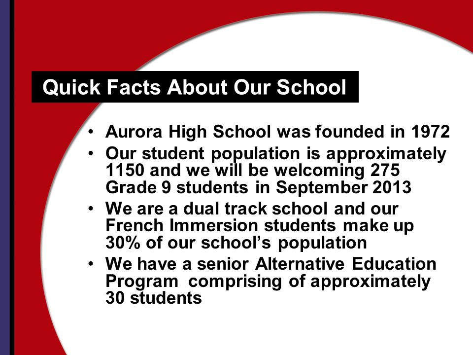 Quick Facts About Our School Aurora High School was founded in 1972 Our student population is approximately 1150 and we will be welcoming 275 Grade 9 students in September 2013 We are a dual track school and our French Immersion students make up 30% of our schools population We have a senior Alternative Education Program comprising of approximately 30 students