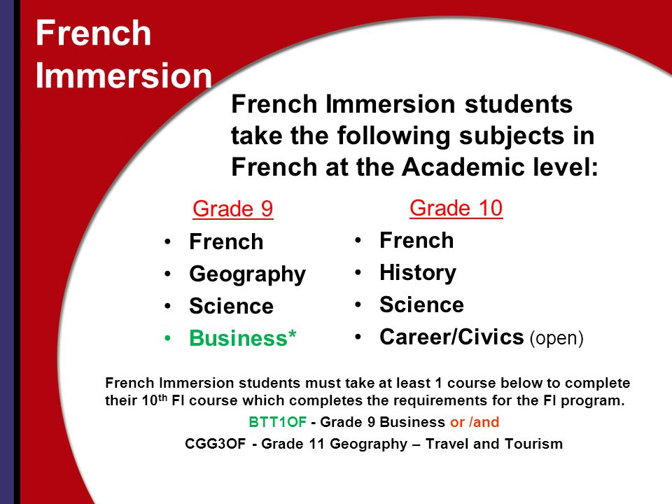 French Immersion Grade 10 French History Science Career/Civics (open) Grade 9 French Geography Science Business* French Immersion students take the following subjects in French at the Academic level: French Immersion students must take at least 1 course below to complete their 10 th FI course which completes the requirements for the FI program.
