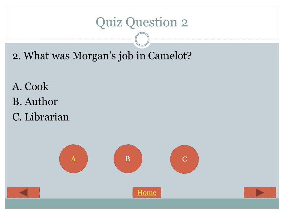 Quiz Question 2 2. What was Morgans job in Camelot A. Cook B. Author C. Librarian B C A Home