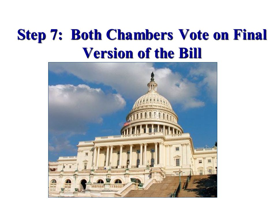 Step 7: Both Chambers Vote on Final Version of the Bill