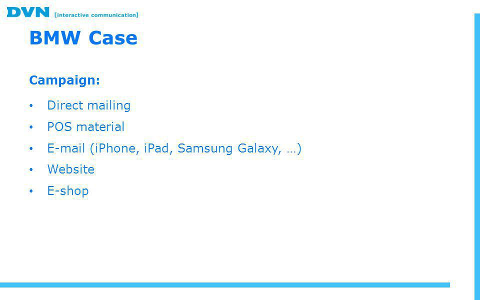 BMW Case Campaign: Direct mailing POS material E-mail (iPhone, iPad, Samsung Galaxy, …) Website E-shop