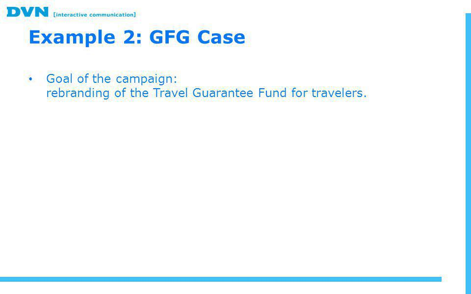Example 2: GFG Case Goal of the campaign: rebranding of the Travel Guarantee Fund for travelers.