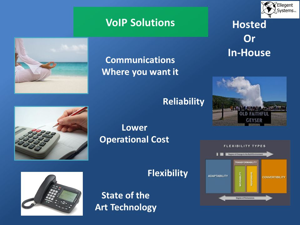 VoIP Solutions Reliability Communications Where you want it Lower Operational Cost Flexibility Hosted Or In-House State of the Art Technology