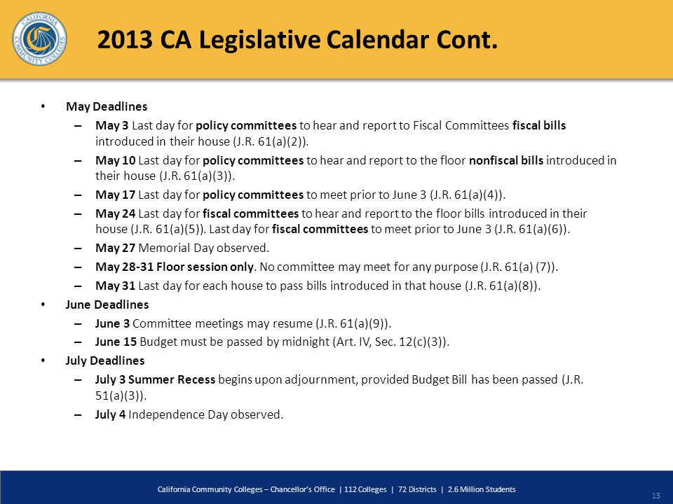 2013 CA Legislative Calendar Cont. May Deadlines – May 3 Last day for policy committees to hear and report to Fiscal Committees fiscal bills introduce