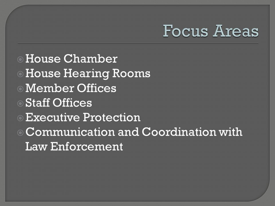 House Chamber House Hearing Rooms Member Offices Staff Offices Executive Protection Communication and Coordination with Law Enforcement