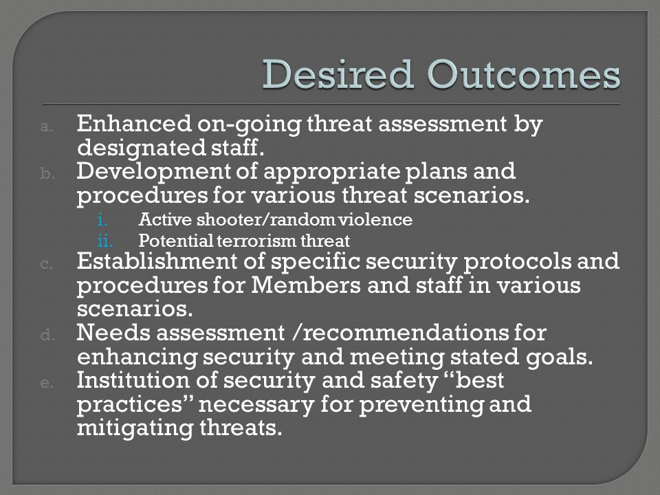 a. Enhanced on-going threat assessment by designated staff.