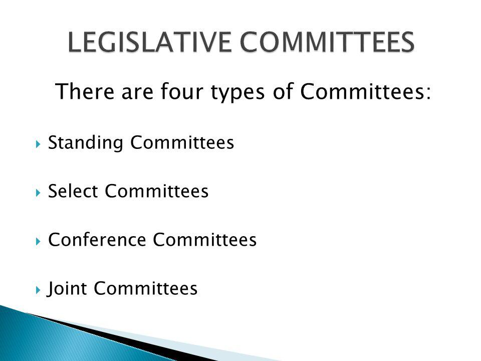 There are four types of Committees: Standing Committees Select Committees Conference Committees Joint Committees