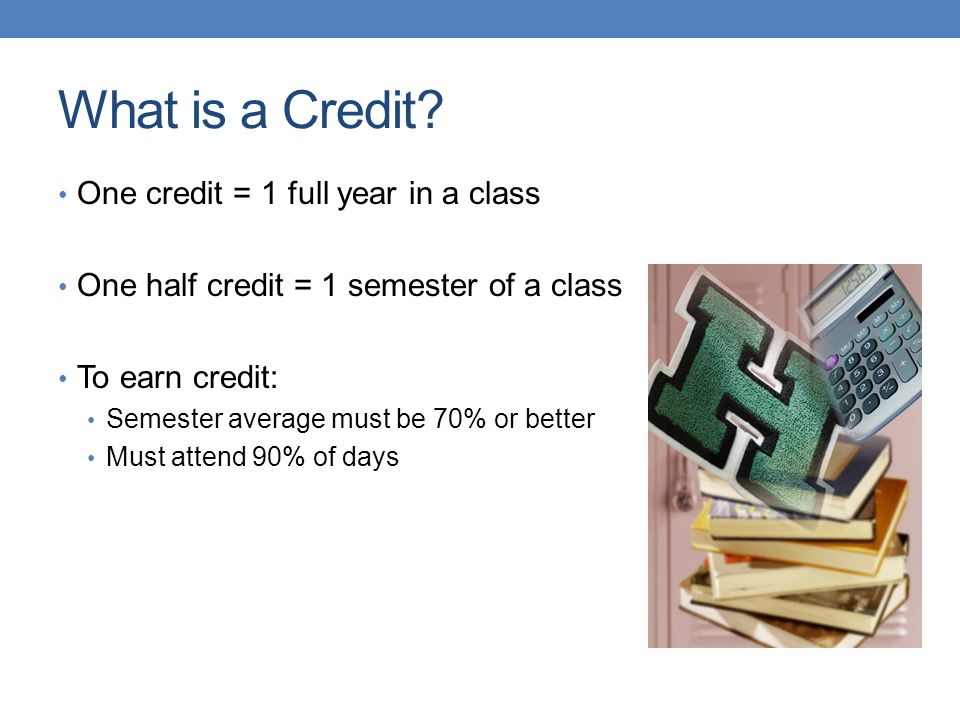 What is a Credit? One credit = 1 full year in a class One half credit = 1 semester of a class To earn credit: Semester average must be 70% or better M