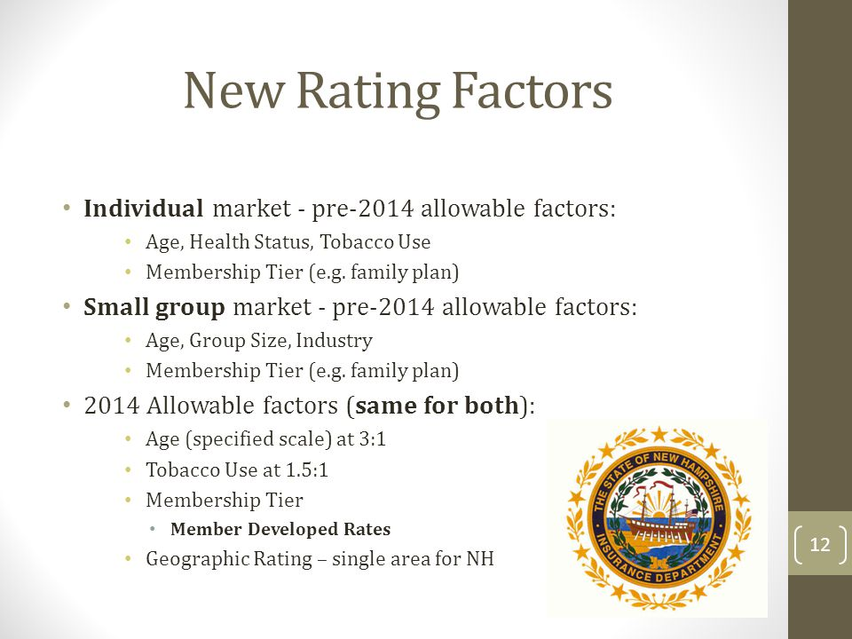 New Rating Factors Individual market - pre-2014 allowable factors: Age, Health Status, Tobacco Use Membership Tier (e.g. family plan) Small group mark