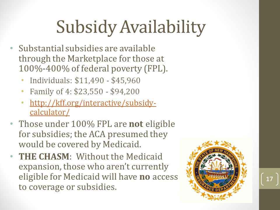 Subsidy Availability Substantial subsidies are available through the Marketplace for those at 100%-400% of federal poverty (FPL). Individuals: $11,490
