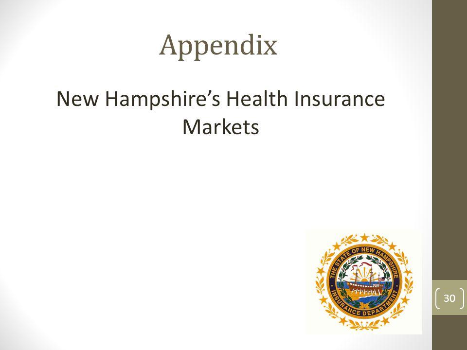 Appendix New Hampshires Health Insurance Markets 30