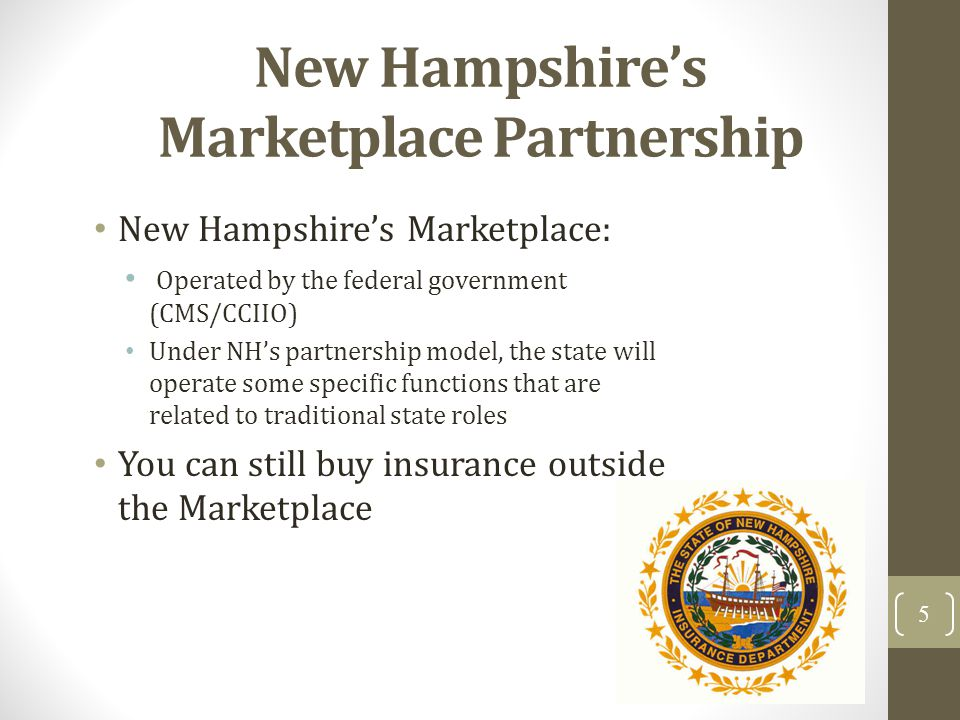 New Hampshires Marketplace Partnership New Hampshires Marketplace: Operated by the federal government (CMS/CCIIO) Under NHs partnership model, the sta
