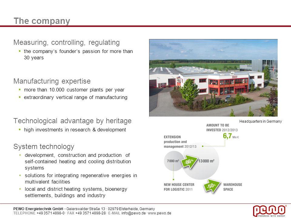 PEWO Energietechnik GmbH · Geierswalder Straße 13 · 02979 Elsterheide, Germany TELEPHONE +49 3571 4898-0 · FAX +49 3571 4898-28 · E-MAIL info@pewo.de · www.pewo.de The companys development