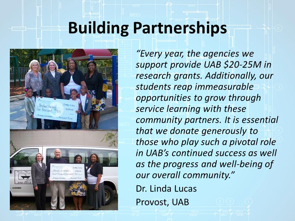 Building Partnerships Every year, the agencies we support provide UAB $20-25M in research grants.