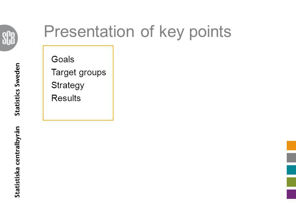 Goals Secure trust Improve response rates Meet new information needs Make users and potential users aware of our products To be the first source of information for European statistics (Eurostat) Goals Target groups Strategy Results