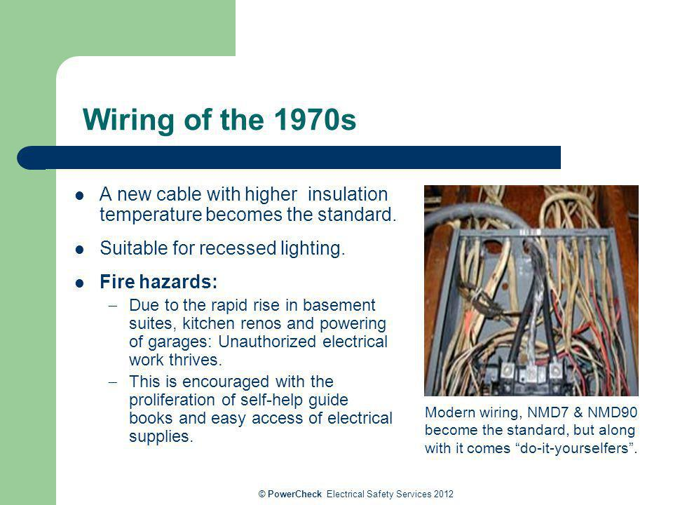Wiring of the 1970s A new cable with higher insulation temperature becomes the standard. Suitable for recessed lighting. Fire hazards: Due to the rapi