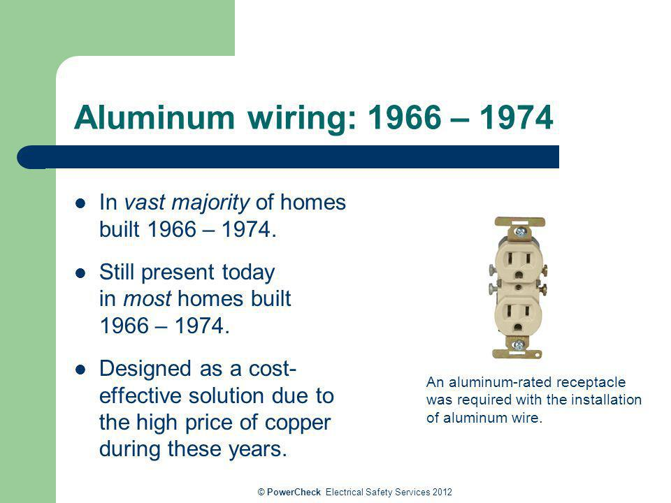 Aluminum wiring: 1966 – 1974 In vast majority of homes built 1966 – 1974. Still present today in most homes built 1966 – 1974. Designed as a cost- eff