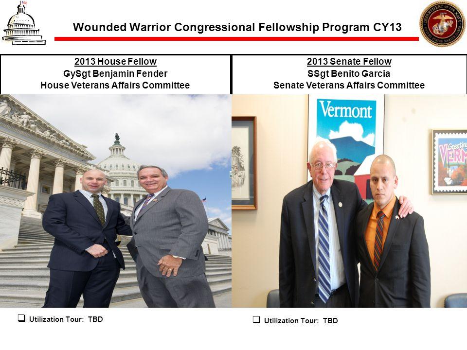 Wounded Warrior Congressional Fellowship Program CY13 2013 House Fellow GySgt Benjamin Fender House Veterans Affairs Committee 2013 Senate Fellow SSgt