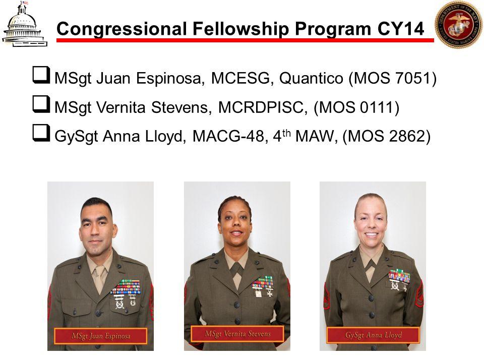 Congressional Fellowship Program CY14 MSgt Juan Espinosa, MCESG, Quantico (MOS 7051) MSgt Vernita Stevens, MCRDPISC, (MOS 0111) GySgt Anna Lloyd, MACG