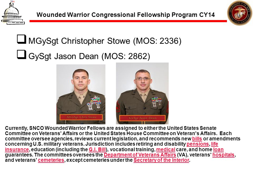Wounded Warrior Congressional Fellowship Program CY14 MGySgt Christopher Stowe (MOS: 2336) GySgt Jason Dean (MOS: 2862) Currently, SNCO Wounded Warrio