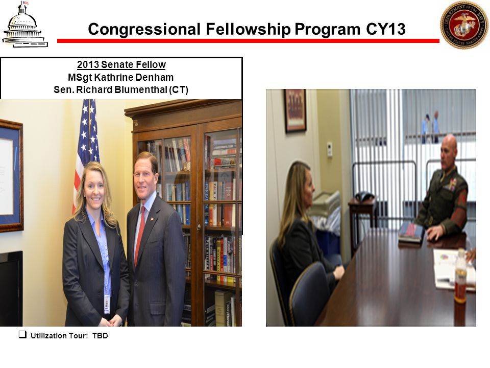 Congressional Fellowship Program CY13 2013 Senate Fellow MSgt Kathrine Denham Sen. Richard Blumenthal (CT) Utilization Tour: TBD