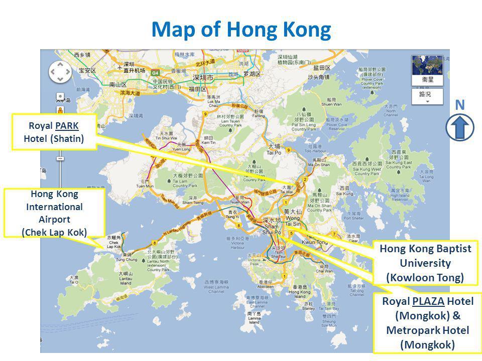 Map of Hong Kong Hong Kong International Airport (Chek Lap Kok) Royal PARK Hotel (Shatin) Royal PLAZA Hotel (Mongkok) & Metropark Hotel (Mongkok) Hong