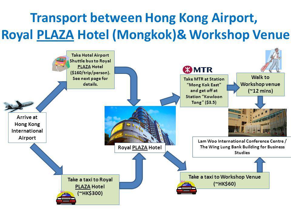 Transport between Hong Kong Airport, Royal PLAZA Hotel (Mongkok)& Workshop Venue Arrive at Hong Kong International Airport Take Hotel Airport Shuttle