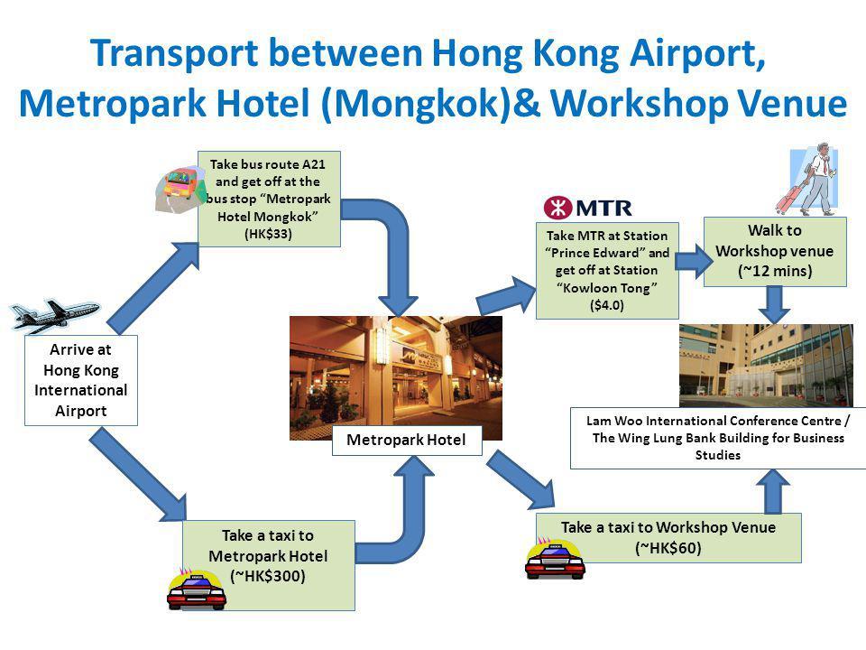 Transport between Hong Kong Airport, Metropark Hotel (Mongkok)& Workshop Venue Arrive at Hong Kong International Airport Take bus route A21 and get of