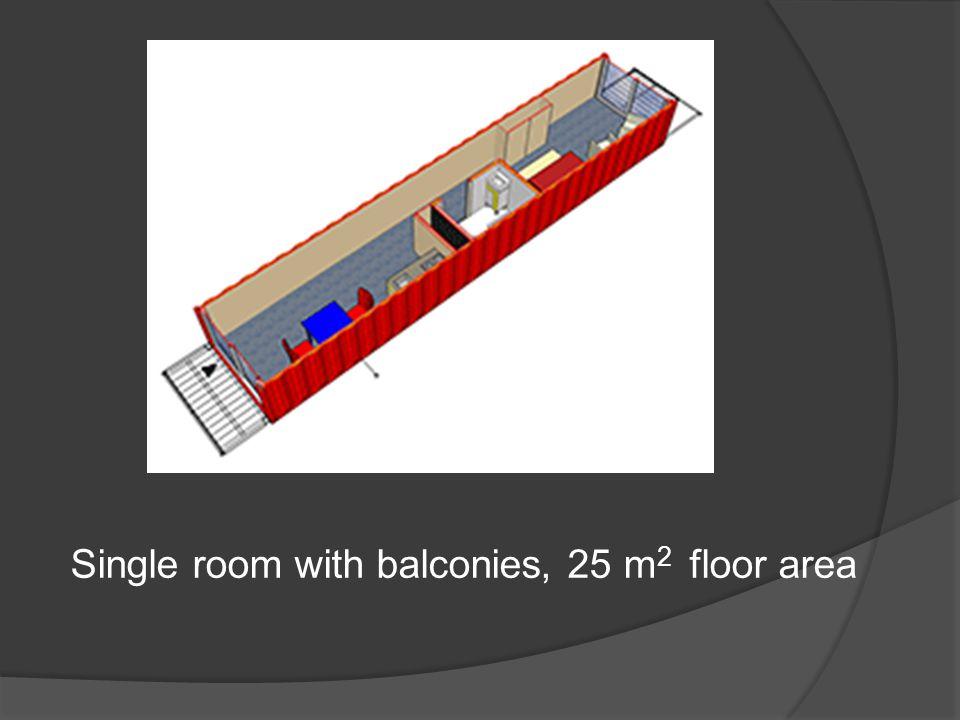 Single room with balconies, 25 m 2 floor area