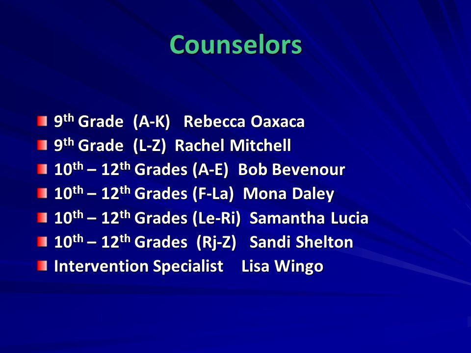 Counselors 9 th Grade (A-K) Rebecca Oaxaca 9 th Grade (L-Z) Rachel Mitchell 10 th – 12 th Grades (A-E) Bob Bevenour 10 th – 12 th Grades (F-La) Mona D