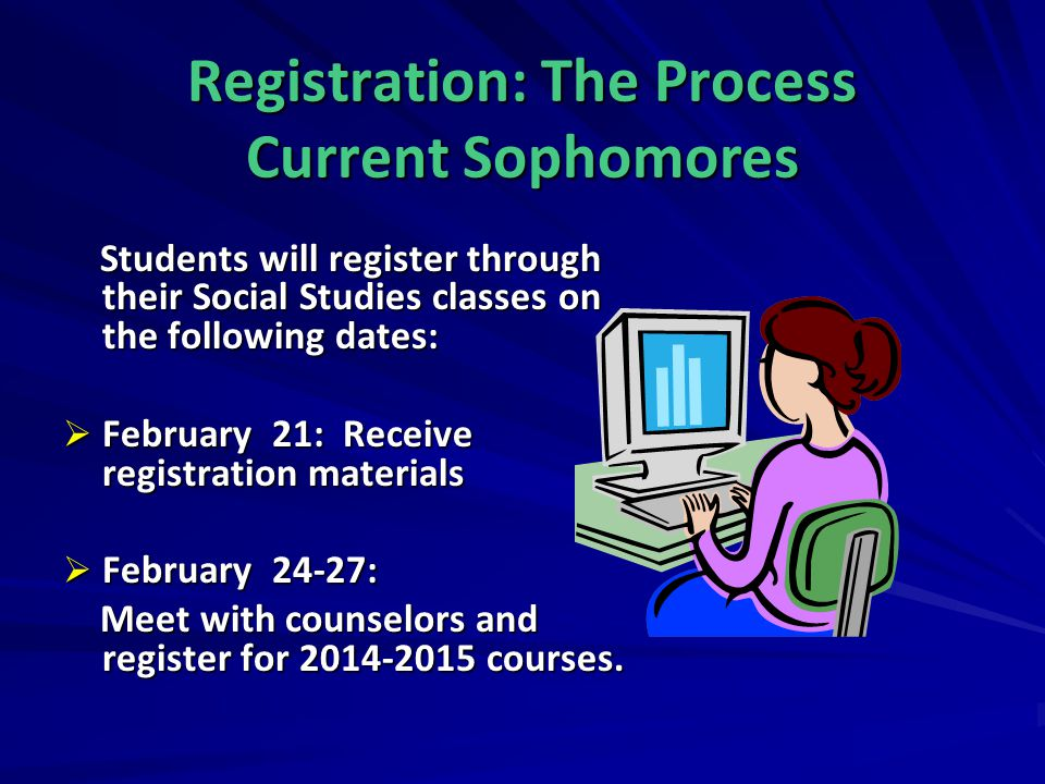Registration: The Process Current Sophomores Students will register through their Social Studies classes on the following dates: Students will registe