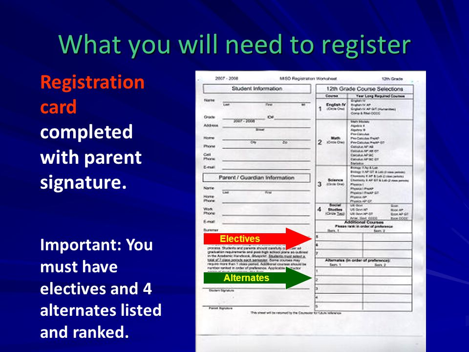 What you will need to register Registration card completed with parent signature. Important: You must have electives and 4 alternates listed and ranke