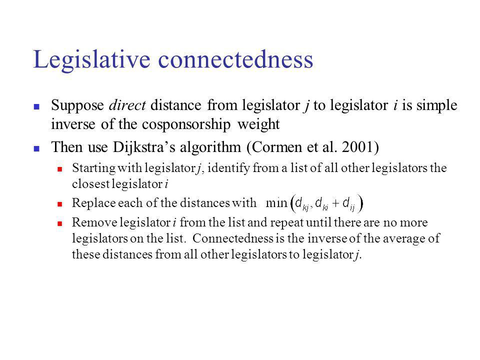 Legislative connectedness Suppose direct distance from legislator j to legislator i is simple inverse of the cosponsorship weight Then use Dijkstras algorithm (Cormen et al.