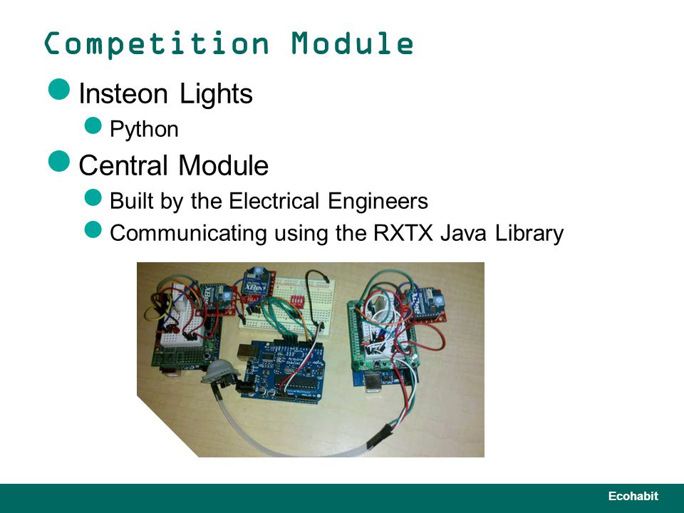 Ecohabit Insteon Lights Python Central Module Built by the Electrical Engineers Communicating using the RXTX Java Library Competition Module