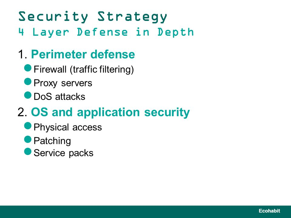 Ecohabit Security Strategy 4 Layer Defense in Depth 1.