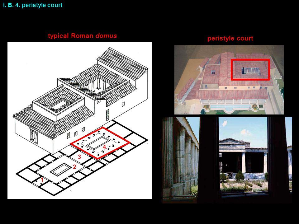 I. B. 4. peristyle court typical Roman domus peristyle court 1 2 3 4